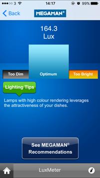 MEGAMAN | Mobile App | MEGAMAN LuxMeter, INGENIUM BLU